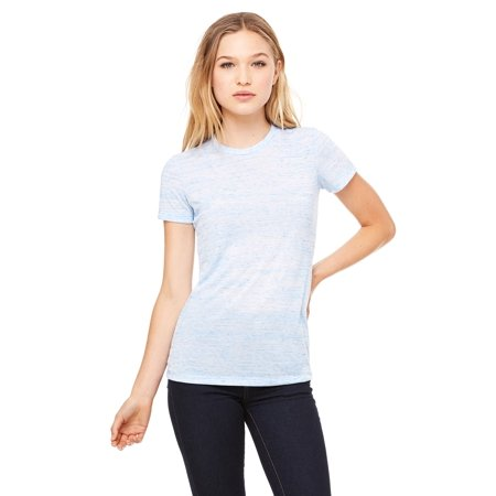 Branded Bella + Canvas Ladies Poly-Cotton Short Sleeve T-Shirt - BLUE MARBLE - L (Instant Saving 5% & more on min 2)