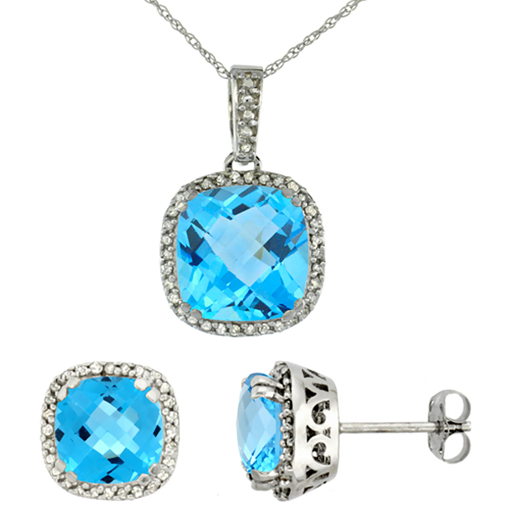 10K White Gold Natural Cushion Swiss Blue Topaz Earrings & Pendant Set Diamond Accents by WorldJewels