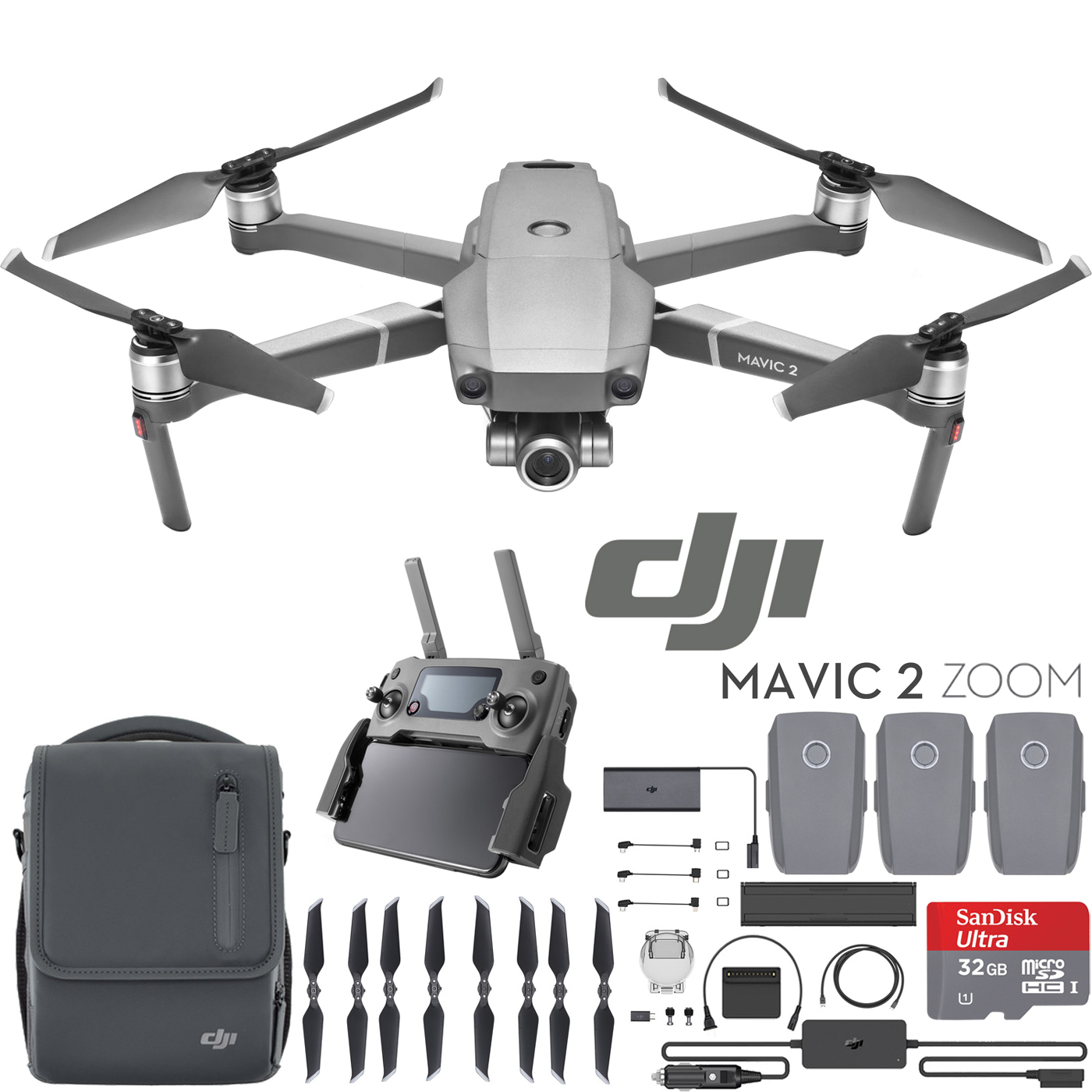DJI Mavic 2 Zoom Drone Fly More Kit with 24-48mm Lens Full HD Video and Memory Card