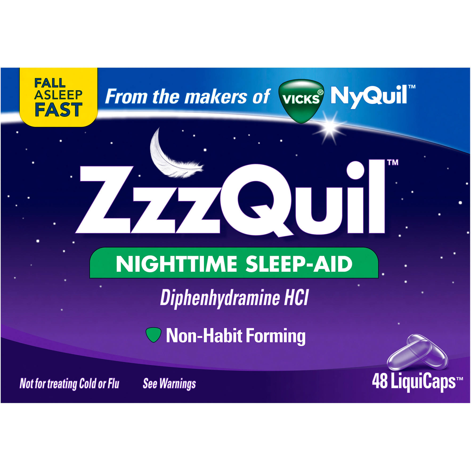 ZzzQuil Nighttime Sleep-Aid LiquiCaps, 48 count