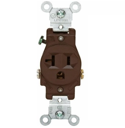 Leviton 100-05801-0SP Pro-Grade Single Grounding Outlet, Brown