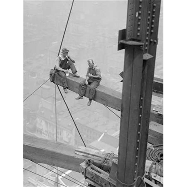Tangletown Fine Art Workers Sitting on Steel Beam 1926 by Anonymous Poster Frame - 23 x 18 x 1.5 in.
