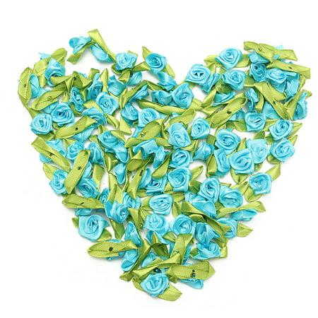 Meigar Appliques Ribbon 100pcs Mini Satin Ribbon Rose Flower Leaf Wedding Decor Sewing DIY Valentine's Day Decoration ()