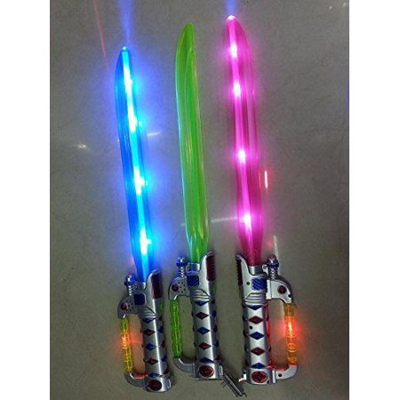 2 pks Flashing LED Pirate Ninja Light up Sword with Sound Swashbuckler Sword - Led Light Sword