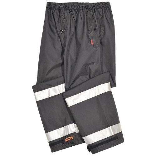 TINGLEY P24123-2X Rain Pants, Polyester, Black/Silver, 2XL