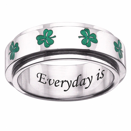 Personalized Stainless-Steel Clover Spinner Band