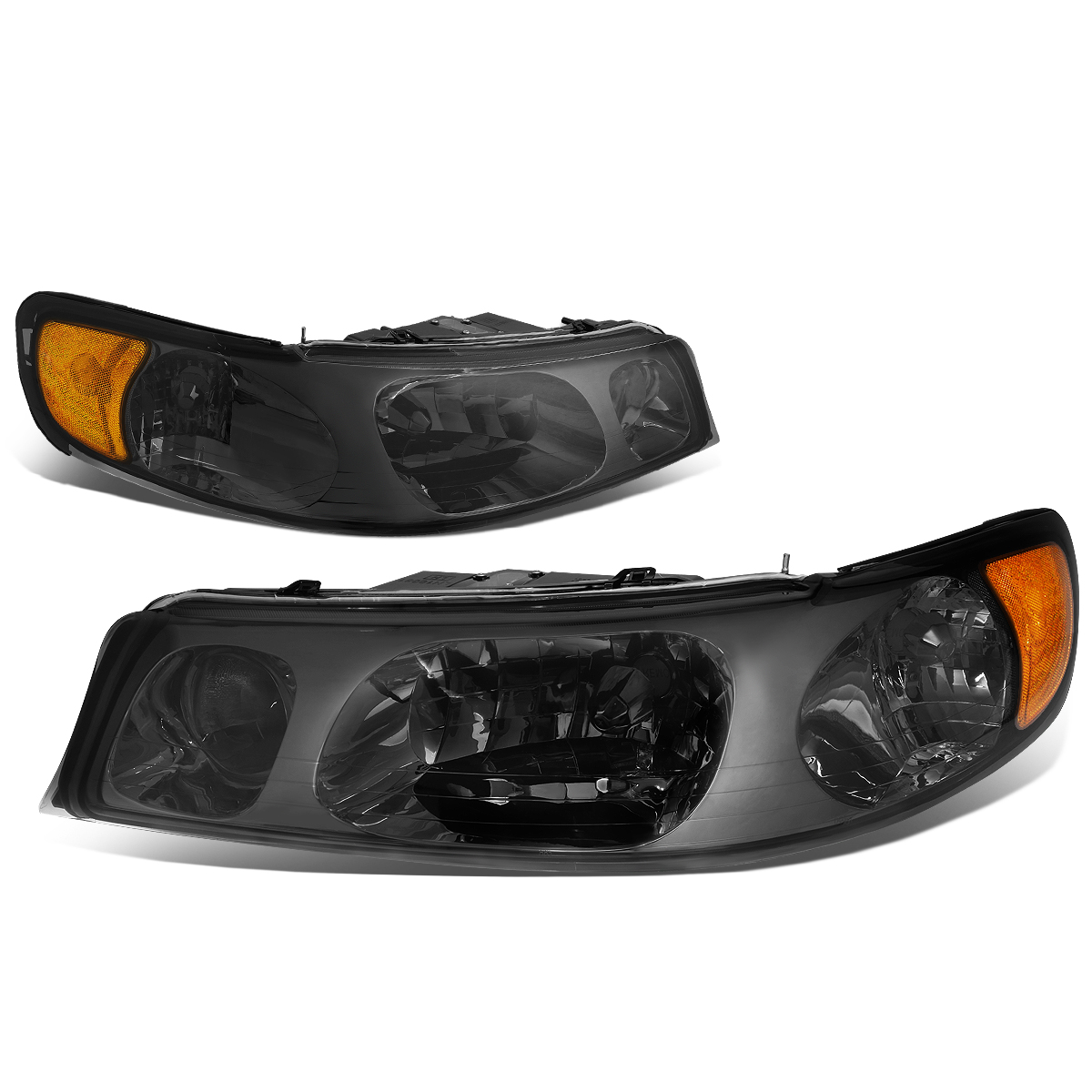 For 1998 To 2002 Lincoln Town Car Headlight Smoked Housing Amber Corner Headlamp 99 00 01 Left