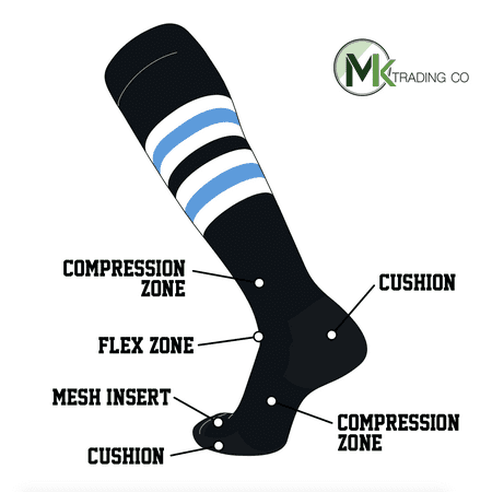 TCK Elite Baseball Football Knee High Striped Socks (I) Black, White, Baby