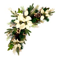 ALEKO Decorative Arched Holiday Christmas Swag - Green and Ivory