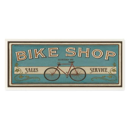 - The Stupell Home Decor Collection Blue Bike Shop Store Sign Wall Plaque Art