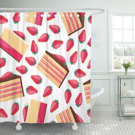KSADK Pattern of Delicious Strawberry Cupcake with Pink Whipped Cream Desserts Fresh Bakery Design Shower Curtain Bathroom Curtain 60x72 inch