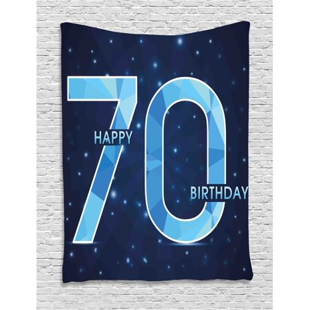 70th Birthday Decorations Tapestry, Stars Space Theme with Geometrical Seventy Party, Wall Hanging for Bedroom Living Room Dorm Decor, 40W X 60L Inches, Dark Blue and Sky Blue, by - Space Decorations