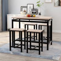 Harper & Bright Designs 5-Piece Dining Set Wood and Metal Pub Table with 4 Bar Stools, Beige