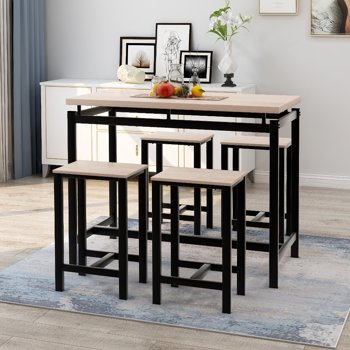 Harper & Bright Designs 5-Piece Dining Set with 4 Bar Stools