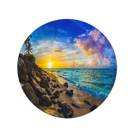 NUDECOR 60 inch Round Beach Towel Blanket Vacation Beautiful Hawaiian Sunset North Shore of Oahu Aloha Travel Circle Circular Towels Mat Tapestry Beach Throw - image 2 of 2