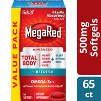 MegaRed Advanced Total Body Refresh Omega-3 Blend Softgels, 500 mg, 65 ct