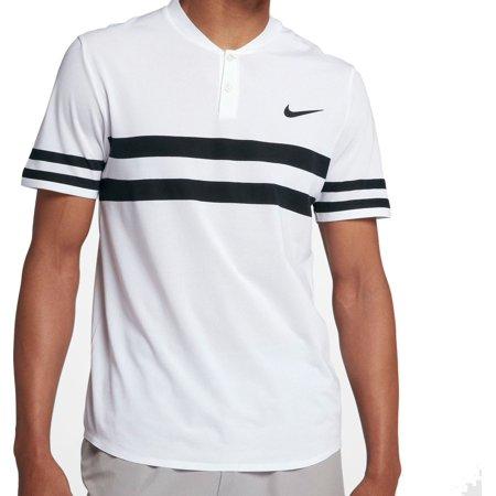 Nike Men's Court Advantage Stripe Tennis Polo, White/White/Black, X-Small