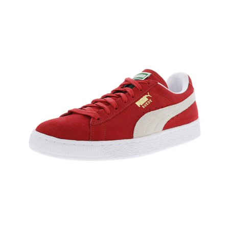 Puma Men's Suede Classic + High Risk Red / White Ankle-High Fashion Sneaker - (Canvas Suede Sneakers)