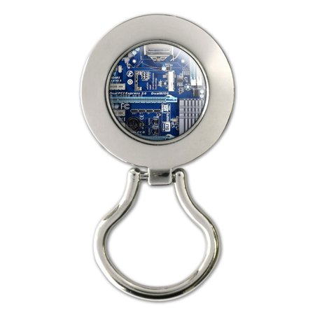 Blue Computer Motherboard - Processor CPU Memory Magnetic Metal Eyeglass Badge Holder