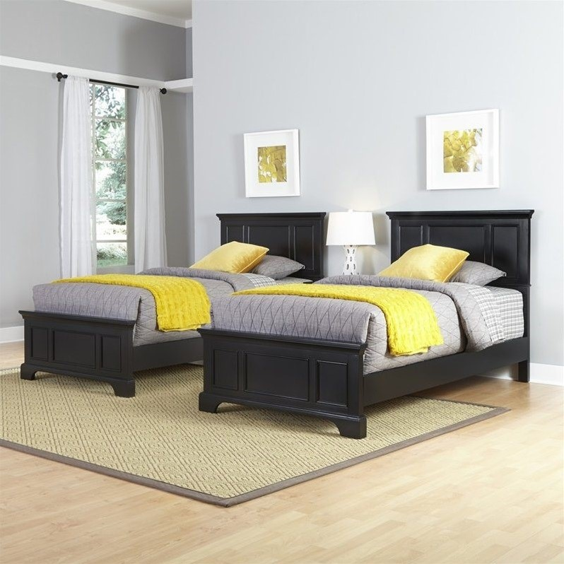 Home Styles Bedford 2 Twin Beds and Night Stand