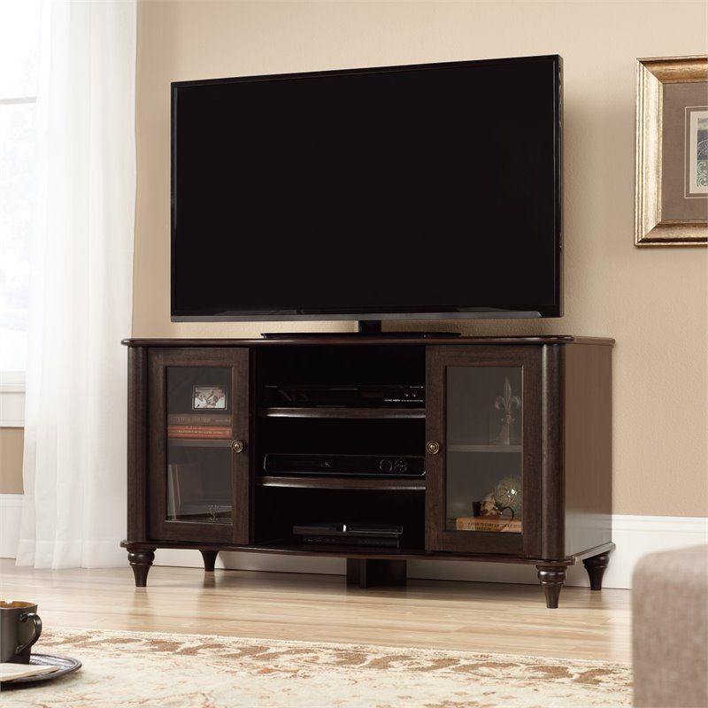 Sauder New Albany TV Stand in Jamocha Wood