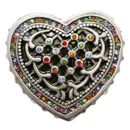 Woven Pewter Pattern Heart Shaped Rainbow Rhinestones Keepsake Box - Heart Shape Box
