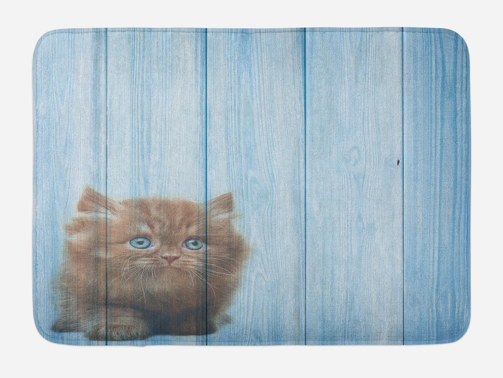 Animal Bath Mat, Cute Kitty Alone on Rustic Vivid Background Kids Childish Artsy Print... by 3decor llc