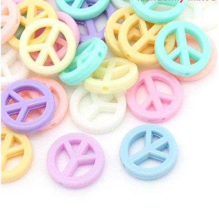 90 Pastel Peace Symbol Mixed Acrylic, Loose Beads, About 17mm Dia with Hole