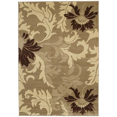 - United Weavers Contours Area Rugs - 510-21126 Contemporary Beige Damask Leaves Petals Rug