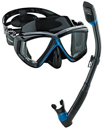 Cressi Panoramic 4 Window Mask Dry Snorkel Set by