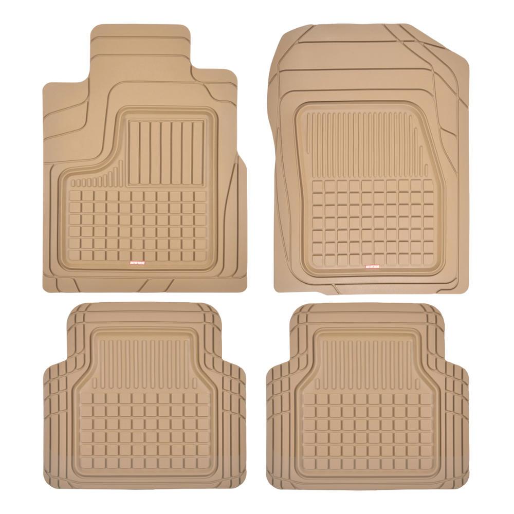 Motor Trend Performance Plus Rubber Car Floor Mats - Heavy Duty Semi-Custom All-Weather Liners - 4pc Set