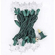 35 Count LED Christmas Mini Lights Set String Lights for Indoor/Outdoor Garden Patio Holiday Party Decorations 120V UL Certified 12FT Green Wire (Snowflake-Cool White) (Star-Cool White)
