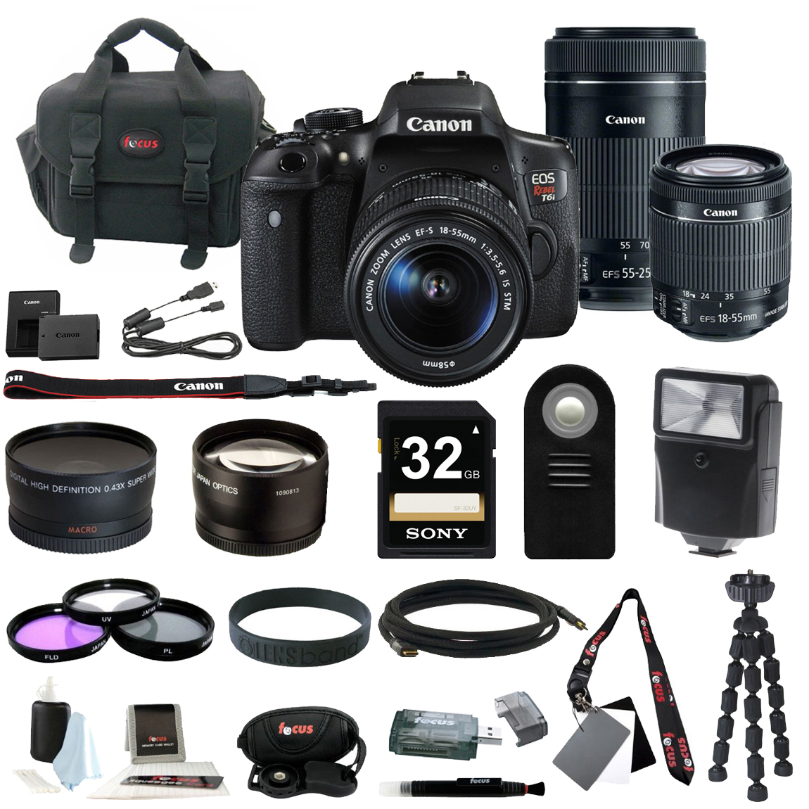 Canon EOS Rebel T6i Digital SLR with EF-S 18-55mm IS