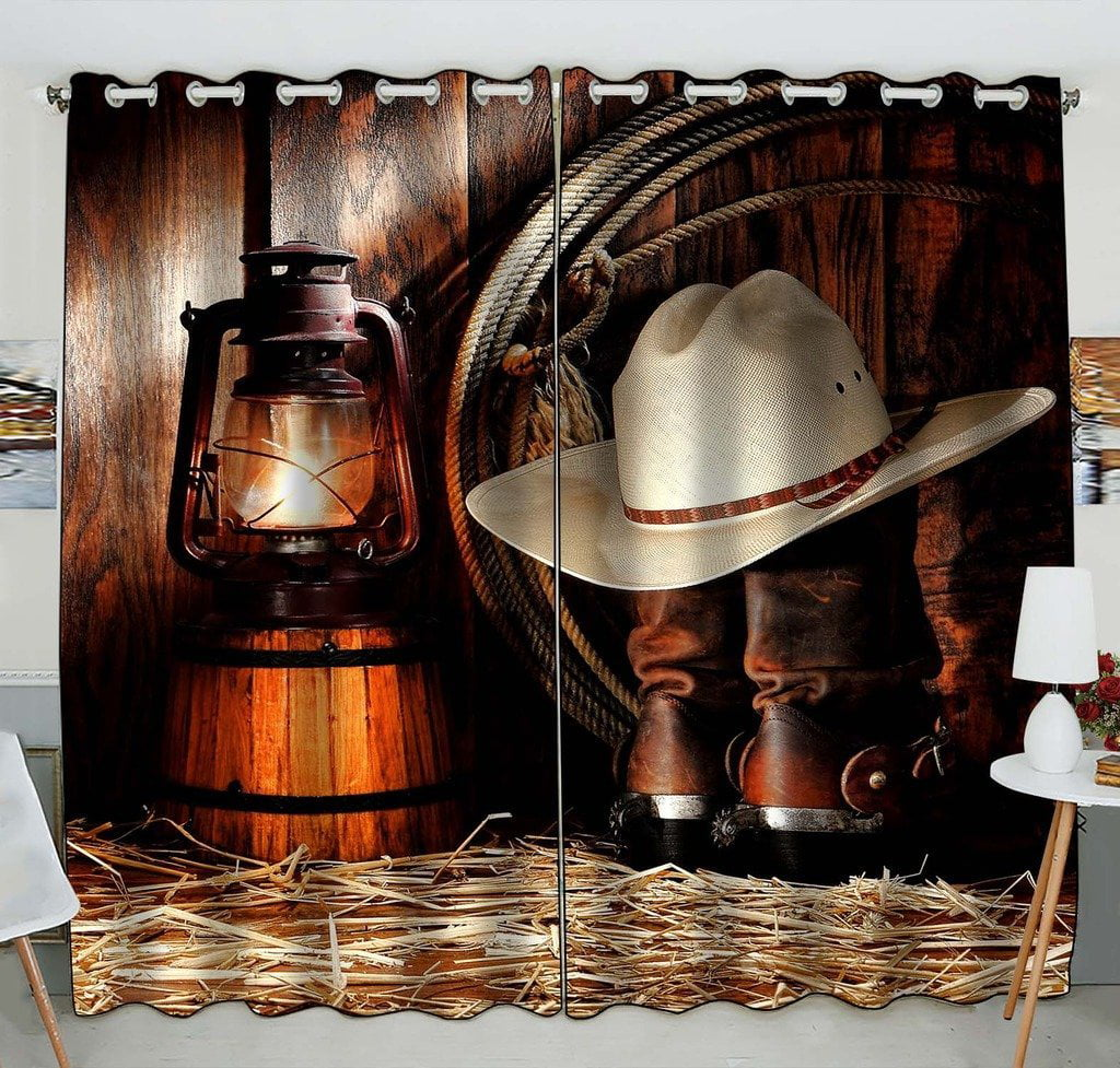 Gckg American West Rodeo Cowboy Hat Boots Window Curtain Kitchen Curtain Window Drapes Panel For Living Room Bedroom Size 52 W X 84 H Inches Two Piece Walmart Com Walmart Com