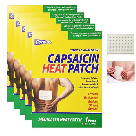 5 Pc Coralite Capsaicin Heat Patch Hot Pads Pain Relief Therapy Press Pack Wrap