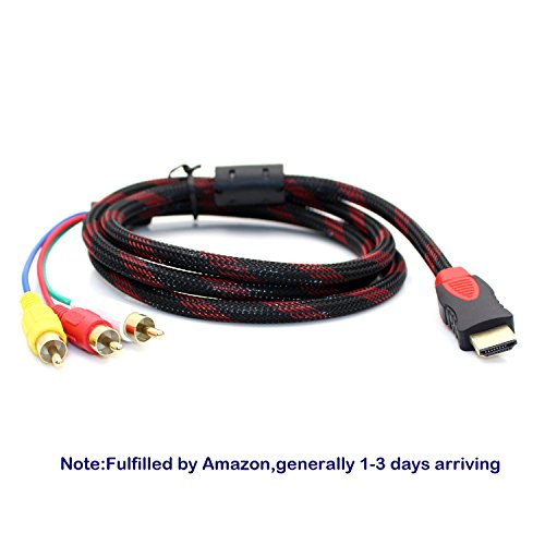 5Ft 1.5m HDMI-Male to 3 RCA Video Audio AV Cable 1080P For DVD HDTV