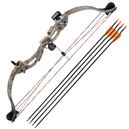"34"" Junior Compound Bow Kit w/ 4pcs 28"" Arrow Set Youth Archery Draw Weight 20lbs Hobby Right Hand thumbnail"