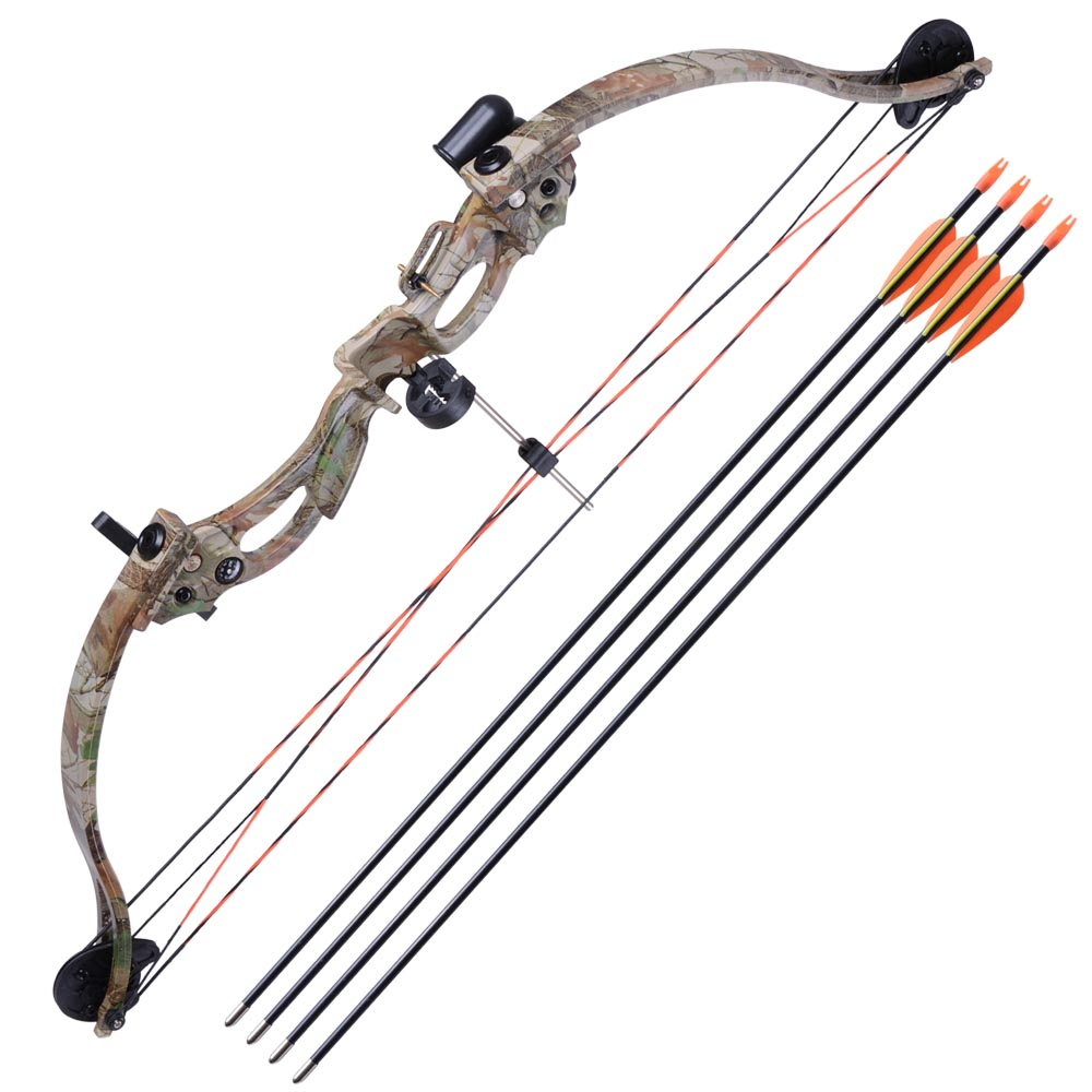 """34"""" Junior Compound Bow Kit w/ 4pcs 28"""" Arrow Set Youth Archery Draw Weight 20lbs Hobby Right Hand"""