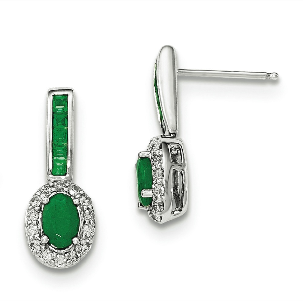 14k White Gold Diamond and Emerald With Halo Post Dangle Earrings - .36 dwt 1.35 cwt