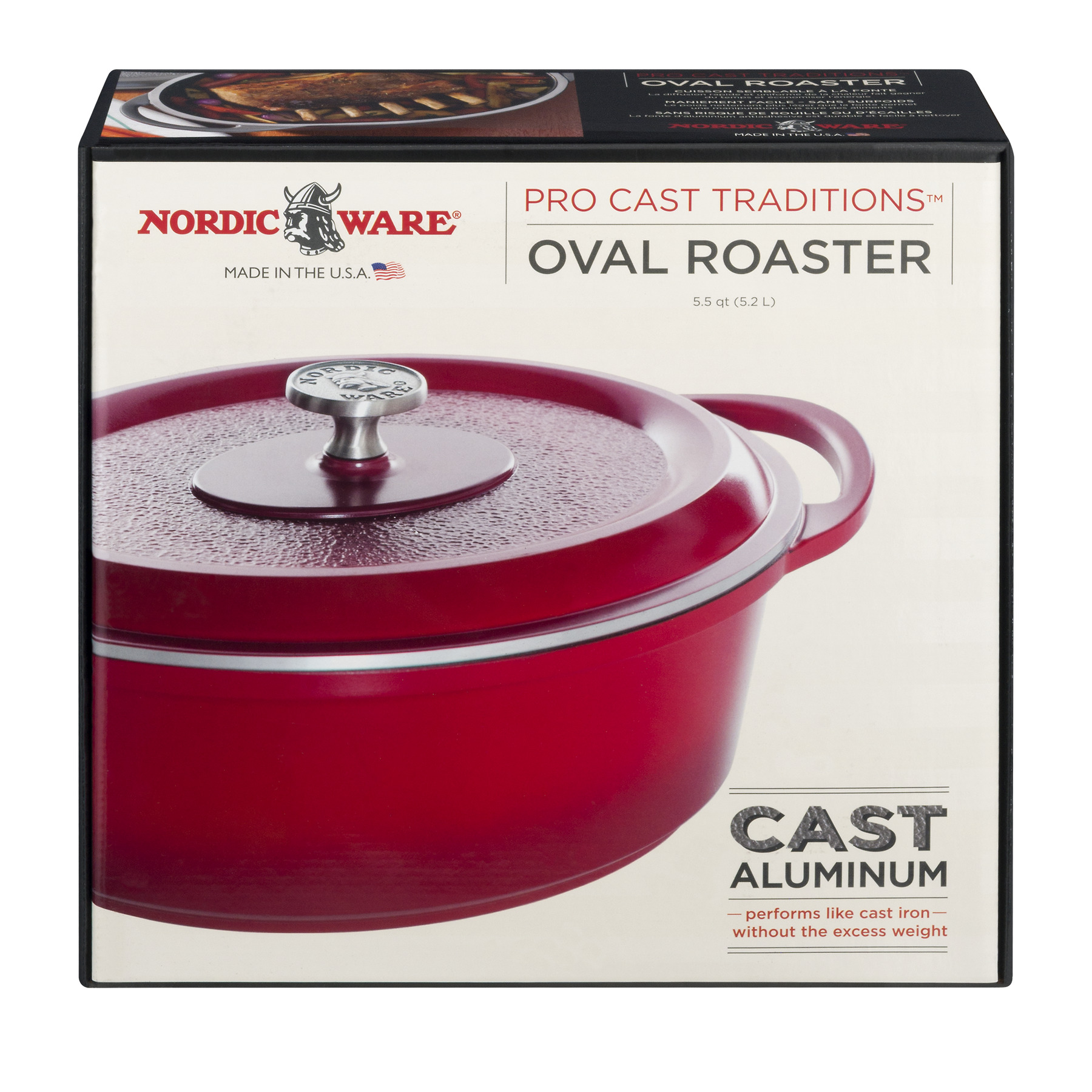 Nordic Ware Pro Cast Traditions Oval Cast Aluminum Roaster, Cranberry, 1.0 CT