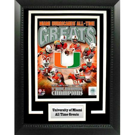 "NCAA Miami Hurricanes Greats 11"" x 14"" Deluxe Frame"