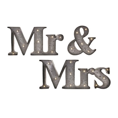 Le Prise 3 Piece Mr. & Mrs. Lighted Sign Gray Wall D cor Set (Mr & Mrs Signs)