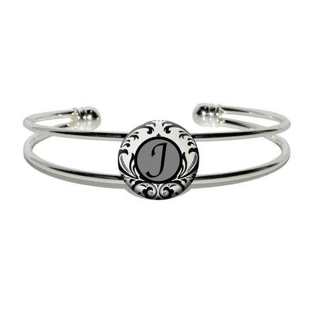 Letter J Formal Fancy Silver Plated Metal Cuff Bracelet - Letter Bracelets