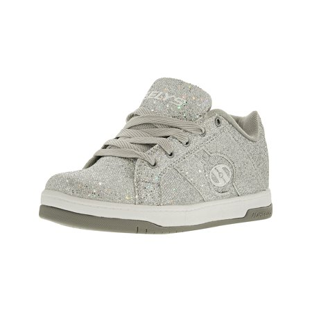 Heelys Split Silver Disco Glitter Ankle-High Fashion Sneaker - (Girl's Silver Glitter Shoes)