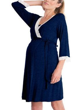 8f57b71400b58 Product Image Jchiup Maternity 3/4 Sleeve Maternity Labor Robe Nursing  Breastfeeding Sleepwear