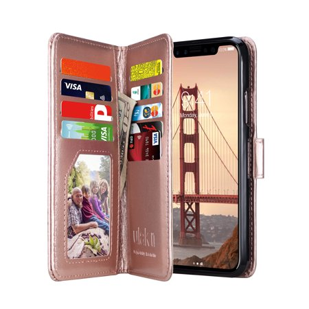separation shoes 028af 59d71 ULAK iPhone X Wallet Case, iPhone XS Wallet Case,Folio Case Slim Protective  PU Leather Case 8 Slot Card Holder Including ID Holder Wristlet for Apple  ...