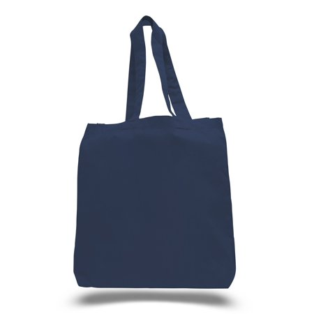 1 Dozen (12 Pack) Cheap High Quality Cotton Tote Bags Wholesale with Bottom Gusset (Navy) - Factory Wholesale Handbag