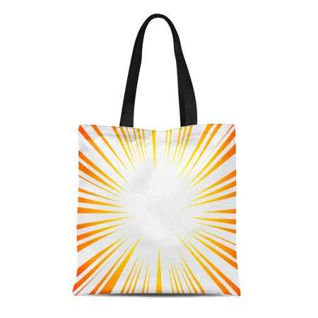 KDAGR Canvas Tote Bag Red Sun Rays Explosion Boom for Comic Books Radial Reusable Shoulder Grocery Shopping Bags Handbag (Ray Ban Shopping)