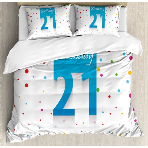 Ambesonne 21st Birthday Decorations Party Festive Themed Happy Birthday Quote on Backdrop Duvet Cover Set