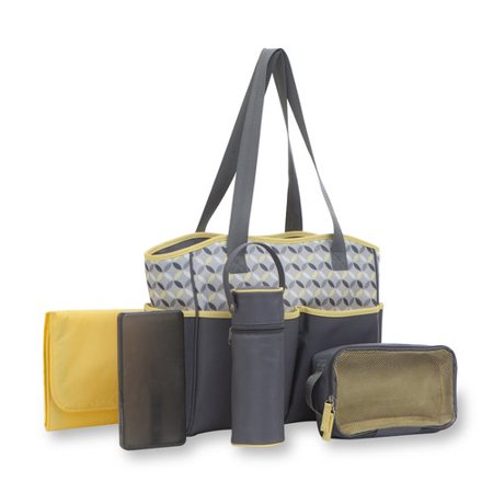 6d5b277ca18c Baby Boom Tote Diaper Bag 5pc set , Grey/Yellow